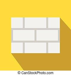 Concrete block wall icon, flat style