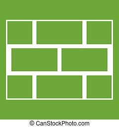 Concrete block wall icon green
