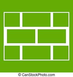 Concrete block wall icon green