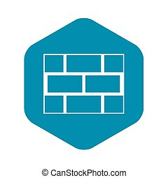 Concrete block wall icon, simple style