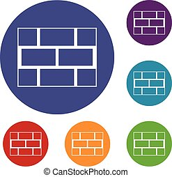 Concrete block wall icons set