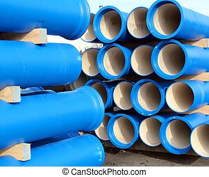 pipes for transporting water and sewerage - concrete blue...