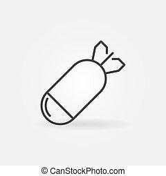 Concrete bomb vector concept icon in thin line style - ...