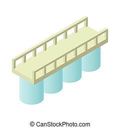 Concrete bridge icon, cartoon style