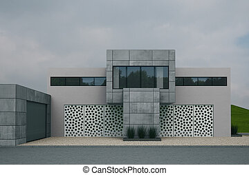 Concrete Buidling with dull sky abd gravel in front