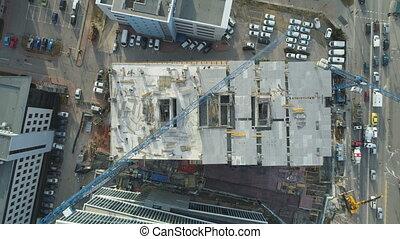 Concrete building construction with cranes Business Park Sofia, Bulgaria