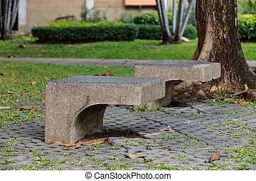 concrete chair in the park