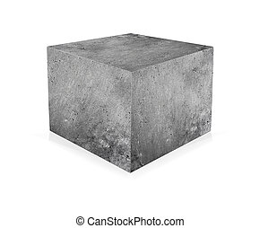 Concrete cube isolated on white background. The concept of ...
