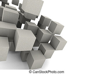 concrete cubes background - abstract 3d illustration of...