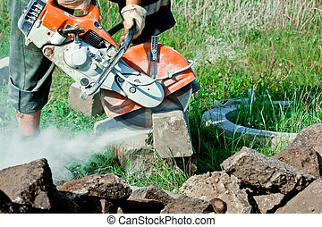 Concrete Curb Cutting - The curb cutting saw works with...