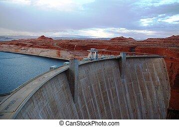 Concrete dam at Glen Canyon on the Colorado River.