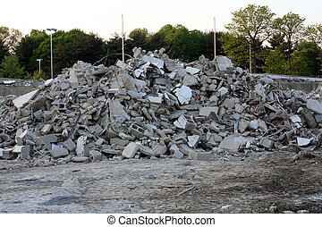 Concrete Debris - Pile of concrete and cinder blocks at a...