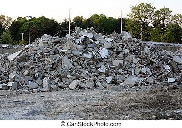 Concrete Debris - Pile of concrete and cinder blocks at a...
