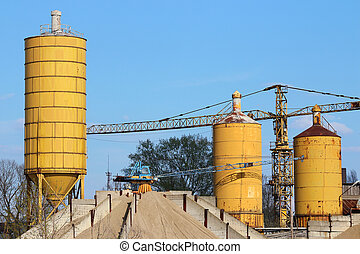 concrete factory with crane and tanks industry zone