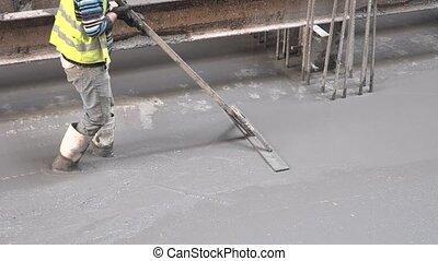 Concrete finishing process shot