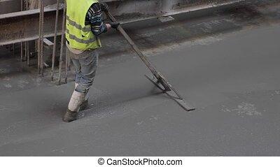Concrete floor casting shot