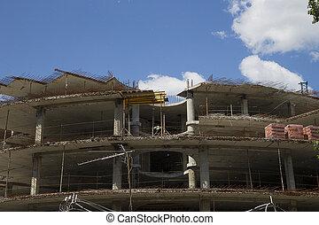 Concrete formwork on construction site