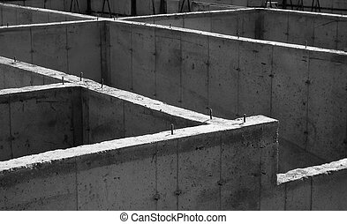 Concrete Foundation - The cement foundation of a new housing...
