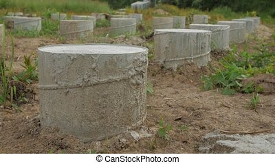 Concrete foundations of the house. Construction of a small family house.