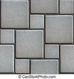 Concrete Gray Figured Pavement of Large and Small Squares.