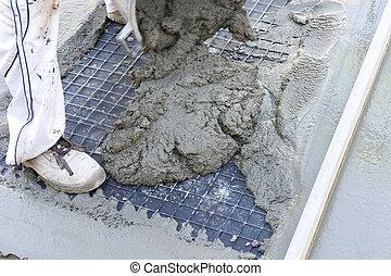 concrete in a construction site