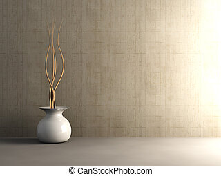 Concrete Interior - 3D Illustration. Unbalanced Lightning.