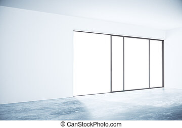 Concrete interior with blank wall