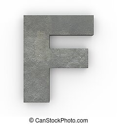 Concrete letter F isolated on white background