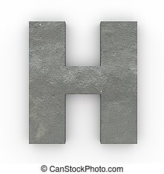Concrete letter H isolated on white background
