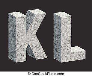 Concrete letters - Concrete 3D letters. Vector illustration.