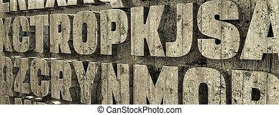 concrete letters on concrete wall