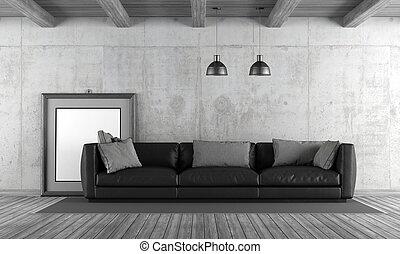 Concrete living room with sofa