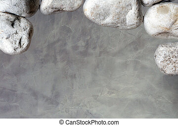 Concrete look wall with white stones background texture, grungy modern design space for text