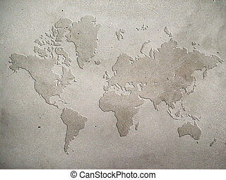 Concrete Map - World map carved on concrete wall