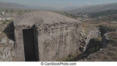 Concrete military bunker ruins built in communist era ...