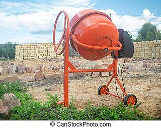 concrete mixer at the construction site