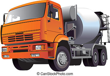 Detailed vectorial image of orange concrete mixer, isolated on white background. Contains gradients and blends.