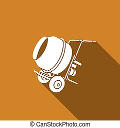 Concrete mixer icon. Vector Illustration. - Vector Isolated...