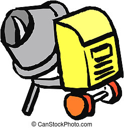 Concrete mixer isolated on the white background