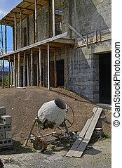 Concrete mixer on the construction