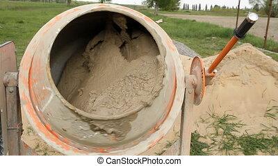 concrete mixer  - Electric concrete mixer at work