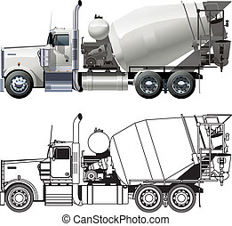 concrete mixer truck Available EPS-10 separated by groups ...
