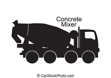 Concrete mixer truck black silhouette. Vector illustration ...