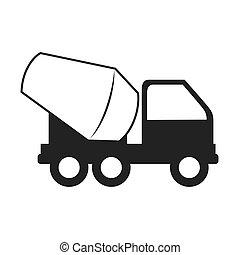 concrete mixer truck cement icon vector graphic