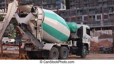 concrete mixer truck construction site work