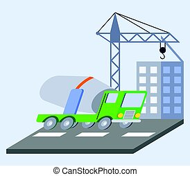 Concrete Mixer Truck Flat Skew Icon - vector illustration of...