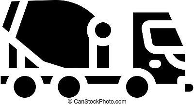 concrete mixer truck glyph icon vector illustration