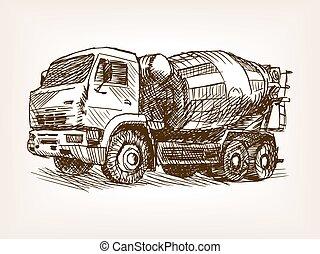 Concrete mixer truck hand drawn sketch vector - Concrete...