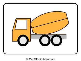Concrete Mixer Truck icon. Cement deliver symbol. Yellou...