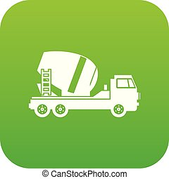Concrete mixer truck icon digital green for any design...